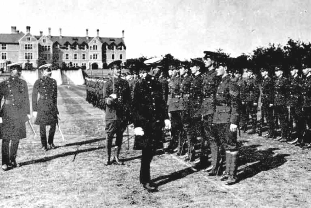 Vic College - cadets on inspection
