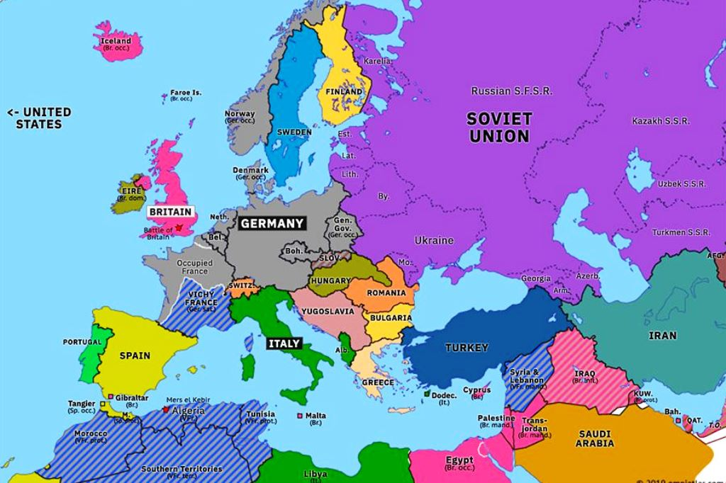 Europe 1940-41 before Germany invaded Russia.