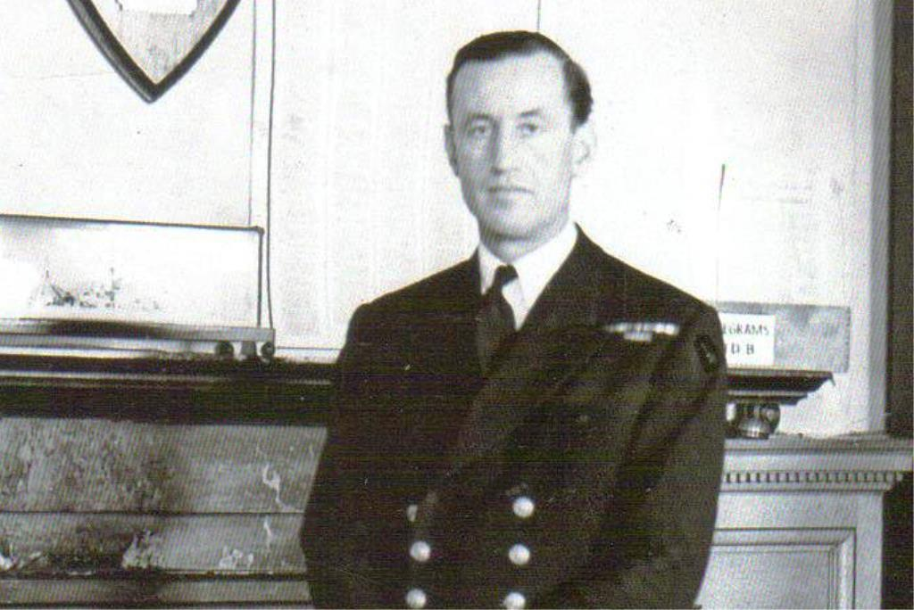 Commander Ian Fleming in Room 39 at the Admiralty in London