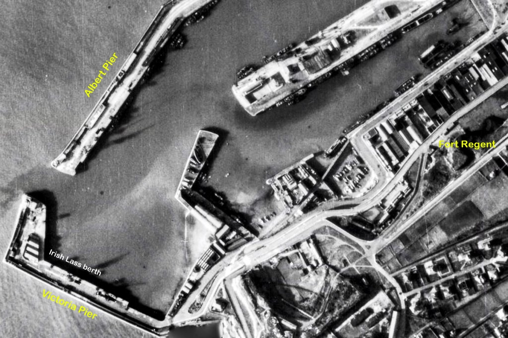 RAF recon photo - Irish Lass berth in St Helier harbour
