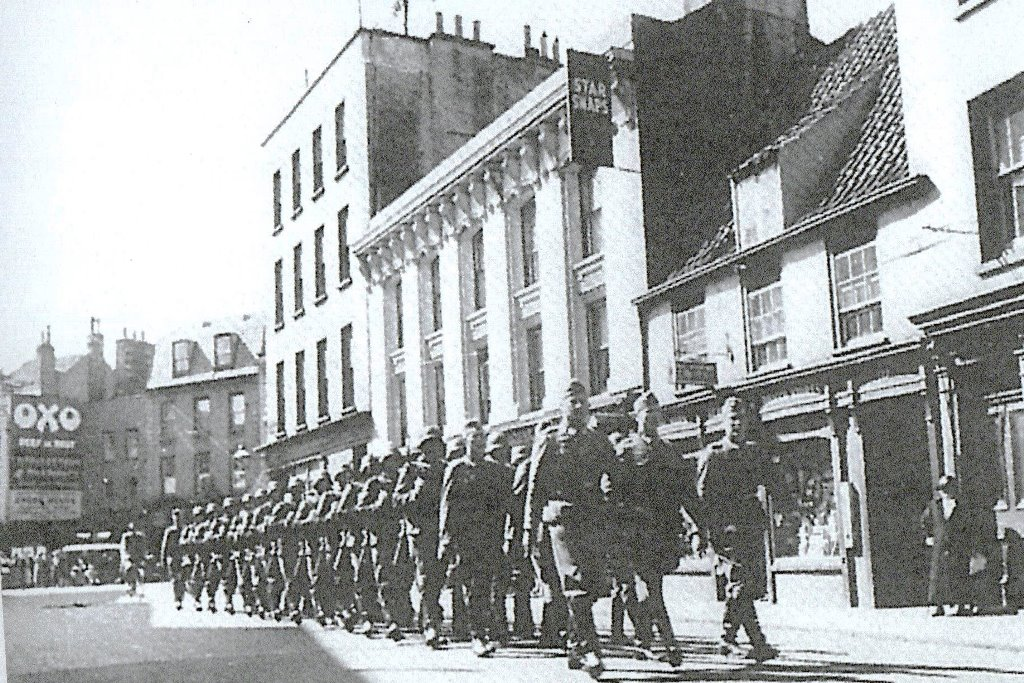 Germans marching along Charing Cross St Helier
