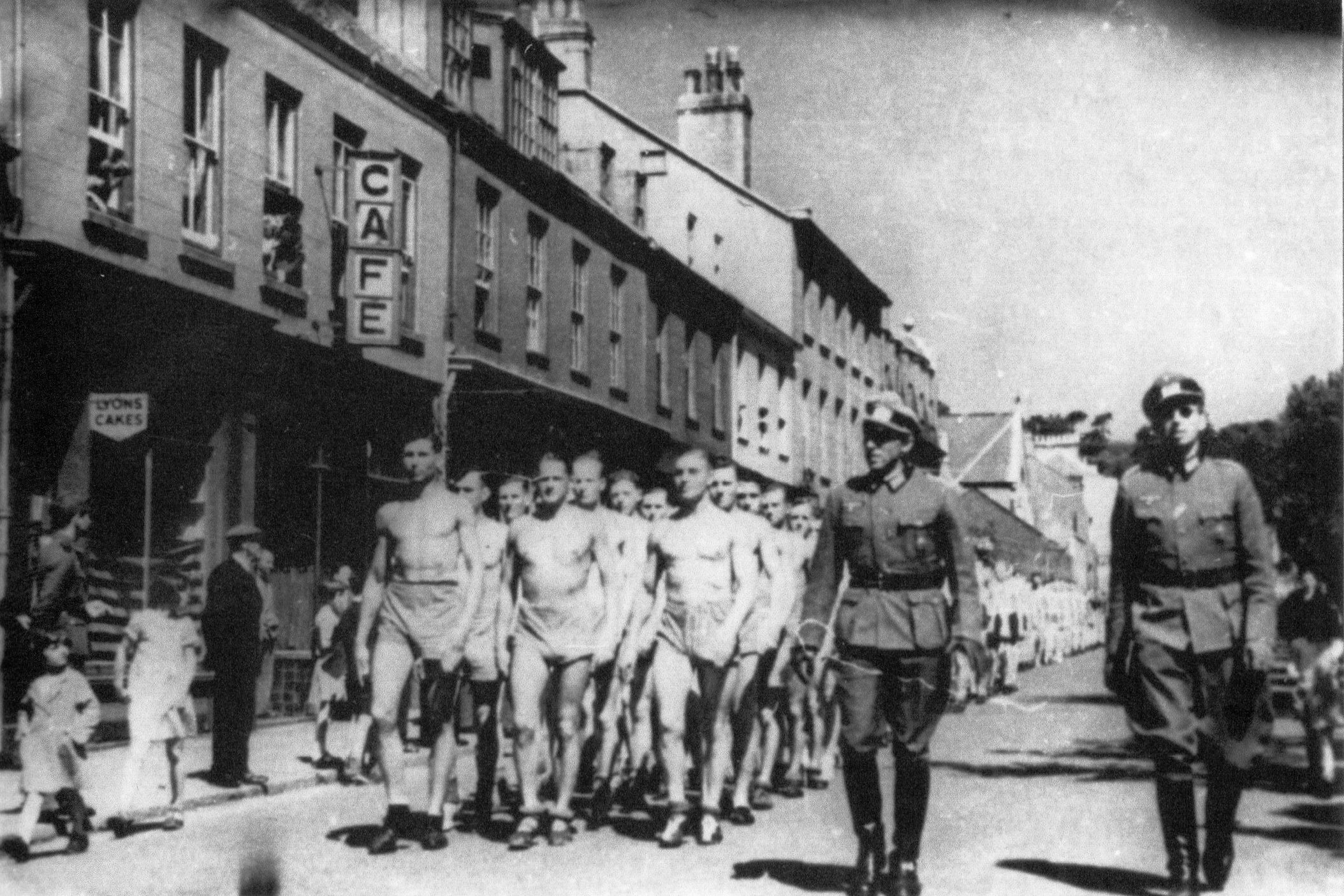 Germans marching to fitness training
